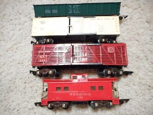 S SCALE AMERICAN FLYER 629, 630, 631 & 633 LINK COUPLER CAR GROUP