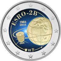 2 Euro Gedenkmünze Belgien 2018 coloriert mit Farbe / Farbmünze Satellit