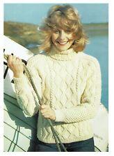 Lady's Polo sweater, jumper, pullover knitting pattern in Aran.