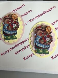 2 x Decoupage Pictures of Hedgehog Theme Toppers