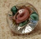 Vintage Paperweight Glass Button  Hand Crafted  Cane   Foil