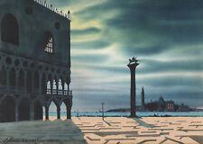 PIAZZA SAN MARCO VENEZIA - Acquerello Originale 1900 - Venice Watercolour