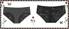 XL Black White Dot Victorias Secret Ruched FULLBack Lace Stretch Hiphugger Panty
