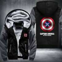 HOT Captain America Zipper Thicken Hoodie Unisex Jacket Winter WARM Coat