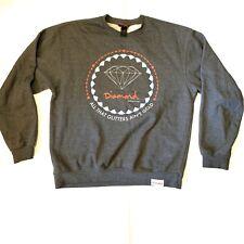 Diamond Supply Co Men Medium Sweatshirt Crewneck Logo Pullover Gray Large