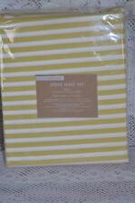 west elm STRIPE Full size Sheet Set ~ NEW ~ White/Citron
