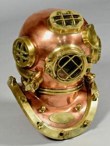 "U.S Navy Mark V Scuba Heavy Diving Divers Helmet Copper & Brass 18"" Replica"