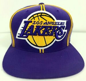 Mitchell & Ness Snapback Hat Cap Los Angeles Lakers Purple Gold Striped NEW NWOT
