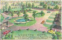 Marietta Motel in Marietta GA Artist Walter Bowers Postcard