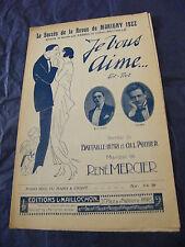 Partition Je vous aime Fabris Battaille 1922 Music Sheet