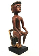 Art Africain - Très Ancien Colon Baoulé Assis - Pièce Erodée sur Socle - 37 Cms