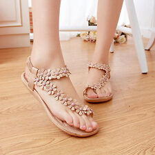 Bohemia Women Flat Gladiator Thong Sandals Summer Beach Clip Toe Shoes Flip Flop