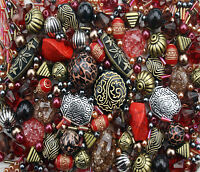 Red Jewellery Making Beads 80g