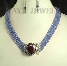 318ctS NATURAL TANZANITE BEADS NECKLACE WITH EARRINGS RUBY STONE CLASP FREE SH