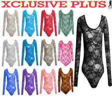 NEW LADIES FLORAL LACE BODY SUITS LONG SLEEVE LEOTARD BODY LACE TOP 8-14