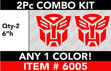 """TRANSFORMERS AUTOBOT 2 Pc 6"""" Combo DECAL STICKER ANY 1 COLOR"""