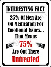 25% of MEN ARE ON MEDS... woman cave, wall decor, funny sign, novelty signs, NEW