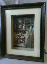 "DAN TOIGO Art Print Carved Paper Picture Diorama Wood Frame ""Wall Clock"" Collage"
