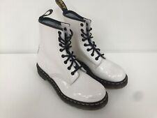 Women's Dr Martens Patent White Boots Uk5 EU38 US7 (1460w)
