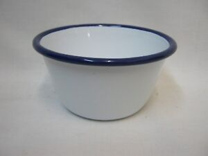 NEW FALCON ENAMEL MINI PUDDING BASIN 10CM WHITE WITH BLUE TRIM 59510