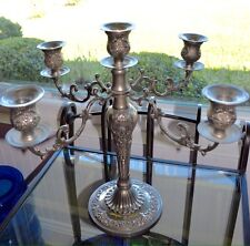 Antique Victorian Silver Plate Candelabra 5 Candle Holders Signed I S In Shield