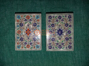 Marble White Top Set of 2 Jewelry Organiser Box Marqutery Floral Fine Design top