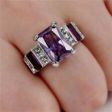 size 8 10K  WHITE GOLD EP DRESS RING DEEP DEEP PURPLE & CLEAR CZ RAISED SETTING