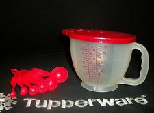 Tupperware SHEER 4cup Mix n Stor Pitcher ~Chili RED Measuring Spoons complete