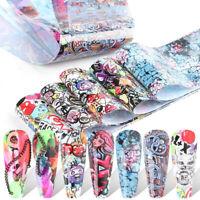10 pcs 20X4 cm Graffiti Street Art Paint Nail Foil Transfer Decals Manicure