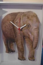 Baby Elephant/Calf novelty wooden wall clock British made by Lark Rise