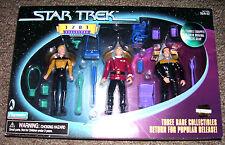 "Star Trek JEAN-LUC PICARD, TASHA YAR & REGINALD BARCLAY 1701 3 PACK 4.5"" figure"