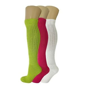 3 Pack Slouch Socks Cotton Colorful Heavy Knee High Scrunch Socks Size 9-11