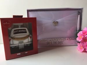 LOT OF 2 Wedding Save The Date Guest Book Pen & Hallmark JUST MARRIED Ornament