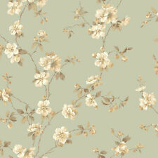 York Wallcoverings Apple Blossoms Green Tan Taupe Chic Modern Floral Wallpaper