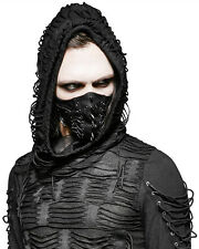 Punk Rave Mens Mask Mouthguard Black Faux Leather Goth Dieselpunk Punk Spiked