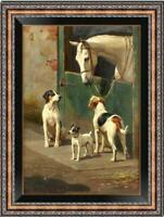 "Old Master-Art Antique Oil Painting animal Portrait horse dog on canvas 24""x36"""