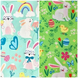 Cute Easter Rabbit Bunny with Easter Egg Nursery Sewing Quilting Cotton Fabric