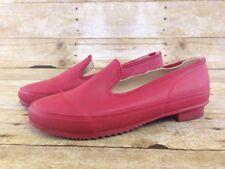 Vtg J Crew Rain Shoe Skimmers Womens 7AAA Red Rubber Slip On Galoshes