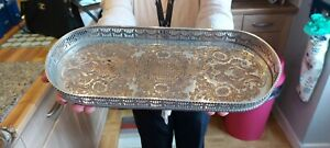 An Antique Silver Plated gallery tray with beautiful chased patterns,sheffield.