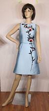 Carolina Herrera Sleeveless Embroidered, Blue Dress, US Size 4, Resort 2016