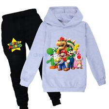 Super mario Luigi Mushroom Bowser Kids Boy Girls Sweatshirt Hoodie Coat Pant Set