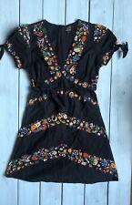 Topshop Kate Moss Black Chevron Floral V Neck Tea Mini Dress 6 / 8 - B44