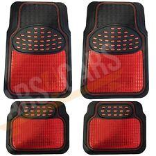 Shiny Red Metallic Checker Style Car Heavy Duty Black Rubber Set of 4 Mats Set