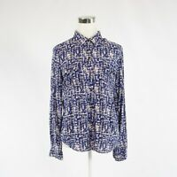 Navy blue white ikat CALVIN KLEIN long sleeve button down blouse S