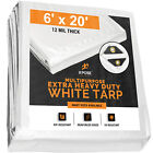 Heavy Duty 12 Mil Thick White Poly Tarp 6' x 20' Multipurpose Protective Cover