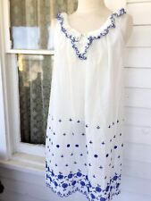 Vintage 70's Baby Doll Short night Gown Top Eyelet lace Blue Embroidery Boho