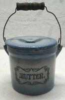 Antique Vintage Blue Ceramic STONEWARE  BUTTER PAIL & LID With Wood STYLE HANDLE