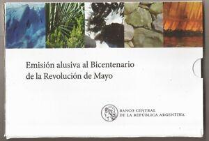 ARGENTINA BLISTER 5 MONEDA DE 1 PESO BICENTENARIO REV MAYO 2010 UNC KM 156-160