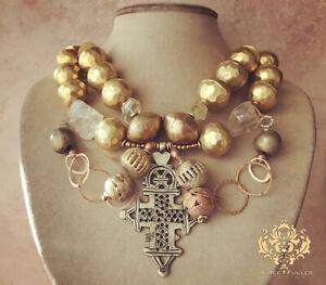 Regal African Pendant Chunky Statement Necklace Brass Coptic Cross Topaz Quartz