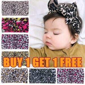 Kids Newborn Girls Baby Leopard Headband Hair Band Bow Accessories Headwears